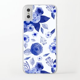 blue and white watercolor floral Clear iPhone Case
