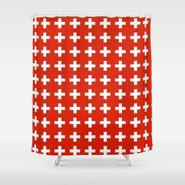 flag of switzerland 2-Switzerland, Alps,swiss,Schweizer,suisse,zurich,bern,geneva Shower Curtain