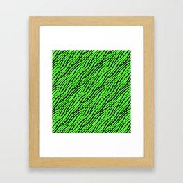Abstract Black green textile Framed Art Print