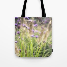 Wild ears and purple wild flowers Tote Bag
