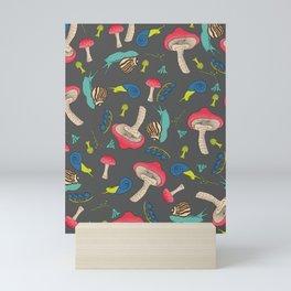 Woodland Snail  and Mushroom Pattern Design Mini Art Print
