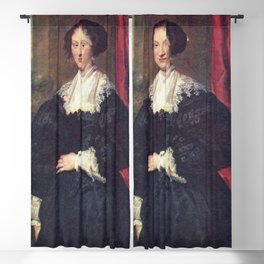 Anthony van Dyck - Portrait of a Lady in Black before a Red Curtain Blackout Curtain