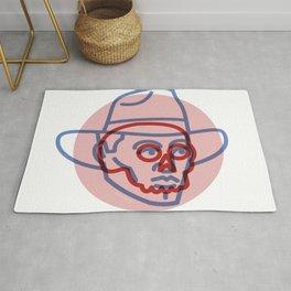 Cowboy Skull - Tattoo Style - Southwest Inspired Pop Art by CJ Hughes Rug