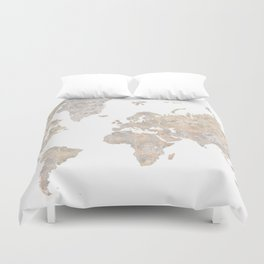 """World map in gray and brown watercolor """"Abey"""" Duvet Cover"""