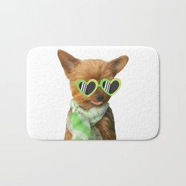 Yorkie with Heart Sunglasses   Dogs   Nadia Bonello Bath Mat
