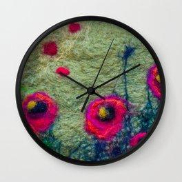 Poppy Field in Felt Wall Clock