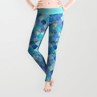 mint Leggings featuring Cobalt Blue, Aqua & Gold Decorative Moroccan Tile Pattern by micklyn