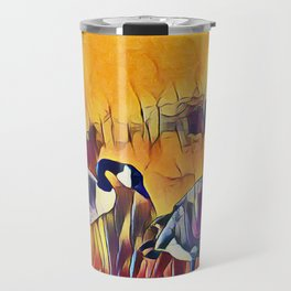 Geese In The Field at Sunset Travel Mug