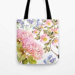 Hydrangea, forget me not, roses watercolor pattern Tote Bag
