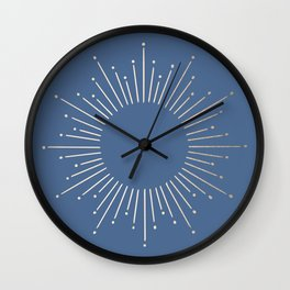 Simply Sunburst in Aegean Blue Wall Clock