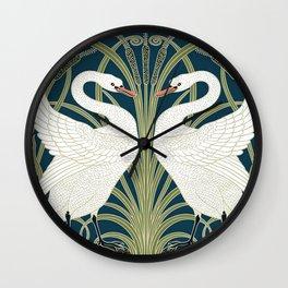 Swan Rush and Iris by Walter Crane Wall Clock