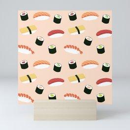 Lovely Japanes sushi drawing illustration on pastel background. Maki ands rolls with tuna, salmon, shrimp, crab. Mini Art Print
