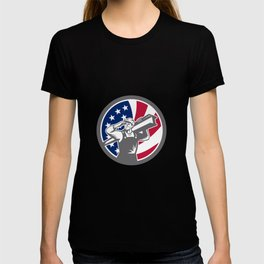 American Construction Worker USA Flag Icon T-shirt