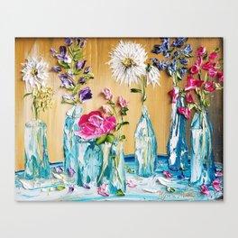 blue bottles with flowers artwork Canvas Print