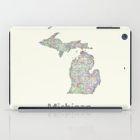 michigan iPad Cases featuring Michigan map by David Zydd