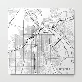 Shreveport Map, USA - Black and White Metal Print
