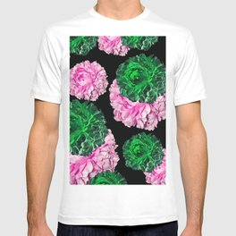 ROSES ROSES CABBAGE ROSES PINK AND GREEN PATTERN T-shirt