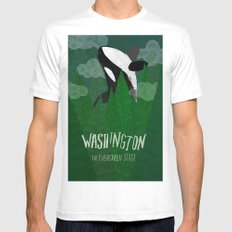 Washington White MEDIUM Mens Fitted Tee