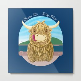 Scottish Highland Cow With Ocean Salty Hair Metal Print