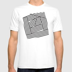 Black Stripes White Mens Fitted Tee MEDIUM