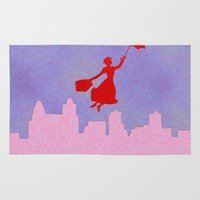 mary poppins Area & Throw Rugs featuring Girlie Miss Poppins  by Sammycrafts