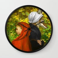 red hood Wall Clocks featuring Red Riding Hood by Diogo Verissimo