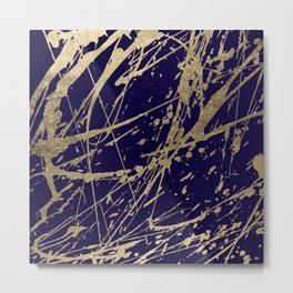 Elegant faux gold modern navy blue paint splatters Metal Print