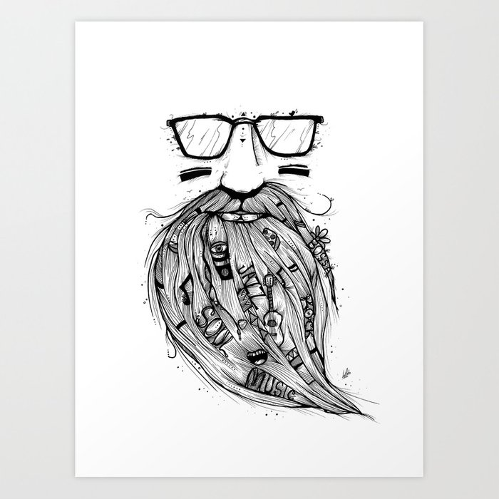 Beard me some music black white art print