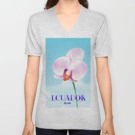 Ecuador Orchid travel poster print, Unisex V-Neck