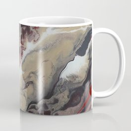 Neutral Black, Red and Brown Painting - Schism Abstract Coffee Mug