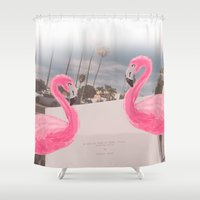 hollywood Shower Curtains featuring HOLLYWOOD by Basiluzzomalato