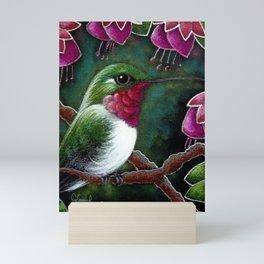 SPRING RUBY THROATED HUMMINGIBRD & FUSCHIA FLOWERS Mini Art Print