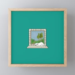 Plenty of imagination: a cat wants to run. Framed Mini Art Print