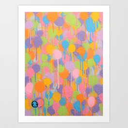 Floating In A Festival Of Candy Colored Balloons Or Swimming In A Sea Of Psychedelic Jellyfish Art Print