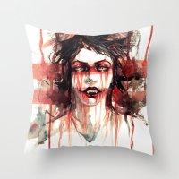 vampire Throw Pillows featuring VAMPIRE by AkiMao