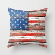 USA Vintage Wood Throw Pillow