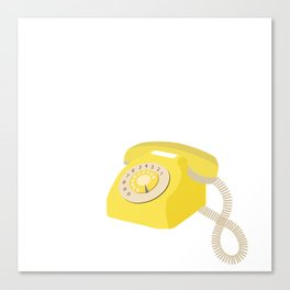 Yellow Vintage Phone // Retro Telephone Illustration Canvas Print