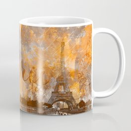 Paris Eifel Tower orange mixed media art Coffee Mug
