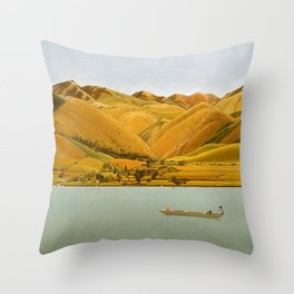 Edge of Abruzzi, Italy; boat with three people on lake by Winifred Knights Throw Pillow