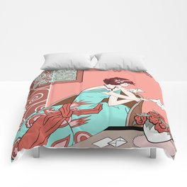 CLARICE: Art Deco Lady - Late Summer Comforters