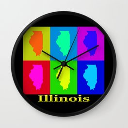 Colorful Illinois State Pop Art Map Wall Clock
