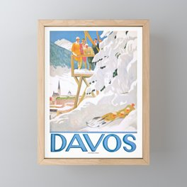 1918 DAVOS Switzerland Winter Sports Poster Framed Mini Art Print