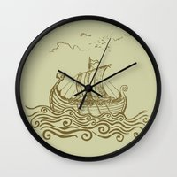 rowing Wall Clocks featuring Viking ship by mangulica