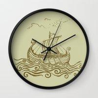 rowing Wall Clocks featuring Viking ship by mangulica illustrations