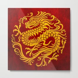 Traditional Yellow and Red Chinese Dragon Circle Metal Print