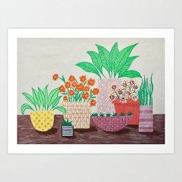Plants in Printed Pots Art Print