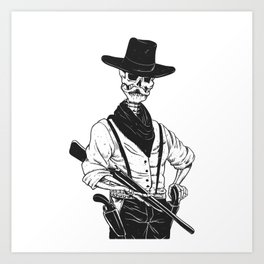 Sheriff with mustache and rifle Art Print