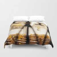 israel Duvet Covers featuring Abstract Hearts in Church, Israel  by Kim Lucian Photography