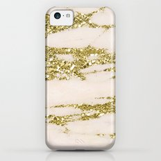 Marble - Gold Marble Glittery Light Pink and Yellow Gold iPhone 5c Slim Case