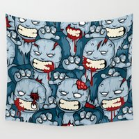 zombies Wall Tapestries featuring The Zombies by Yves-José Malgorn
